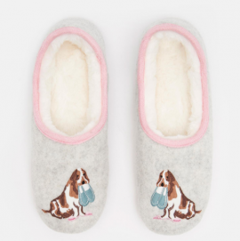 Joules Slippets Cream Dog Mule Slippers