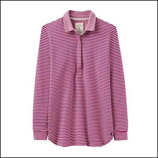 Joules Tenby Ruby Stripe Sweat Deck Shirt 1