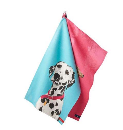 Joules Thea Pink Set of 2 Breton Dachshund-Dalmatian Tea Towels 1