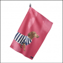 Joules Thea Pink Set of 2 Breton Dachshund-Dalmatian Tea Towels 2