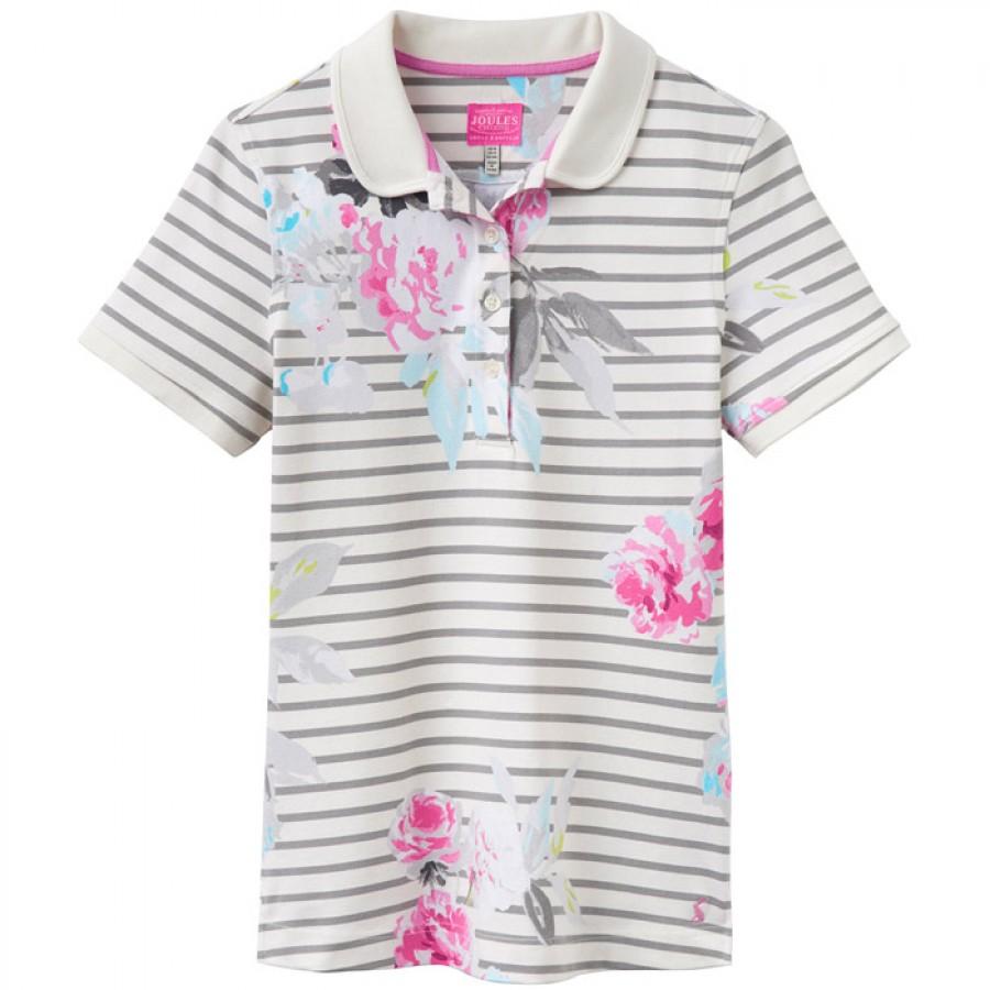 Joules Trinity Grey Beau Stripe Slim Fit Polo Shirt 1