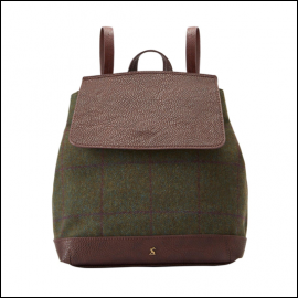 Joules Trippa Green Check Tweed Rucksack 1