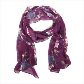 Joules Wensley Bilberry Harvest Floral Print Longline Scarf 1