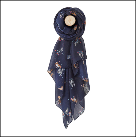 Joules Wensley Dog in Leaves Print Longline Scarf 1