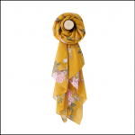Joules Wensley Gold Chinoise Flower Print Longline Scarf
