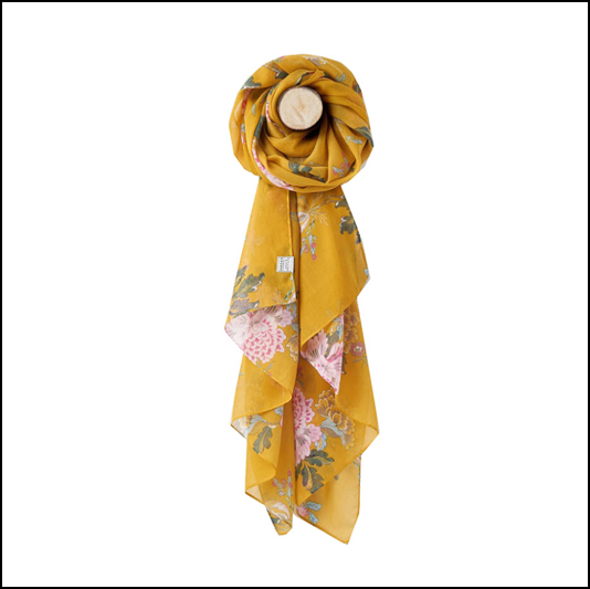 Joules Wensley Gold Chinoise Flower Print Longline Scarf 1