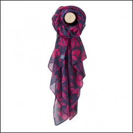 Joules Wensley Navy Bilberry Botanicals Print Longline Scarf 1
