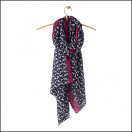 Joules Wensley Navy Fox Terrier Lightweight Printed Scarf 1