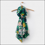 Joules Wensley Oak Green Fay Floral Scarf 1