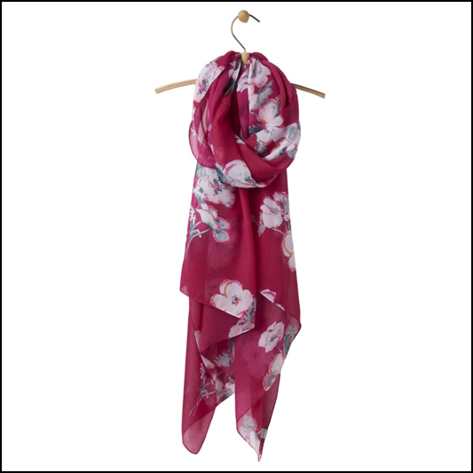 Joules Wensley Ruby Poppy Lightweight Printed Scarf 1
