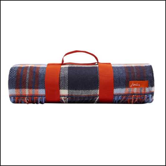 Joules Woven French Navy Check Picnic Blanket 1