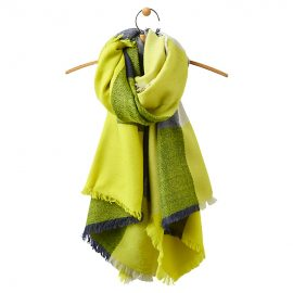 Joules Berkley Oversized Scarf Bright Lime Check