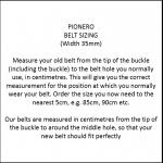 Pioneros Belt Sizing