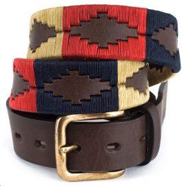 Pioneros Polo Belt - Navy, Cream & Red 1
