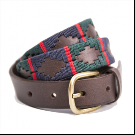 Pioneros Polo Belt - Navy, Dark Green & Red Stripe 1