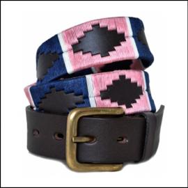 Pioneros Polo Belt - Navy, Pink & White Stripe 1