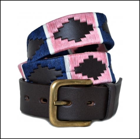 Pioneros Polo Belt - Navy, Pink & White Stripe 1