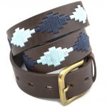 Pioneros Polo Belt - Pampas Cross, Navy & Pale Blue 1