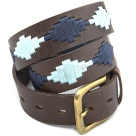 Pioneros Polo Belt - Pampas Cross, Navy & Pale Blue 1