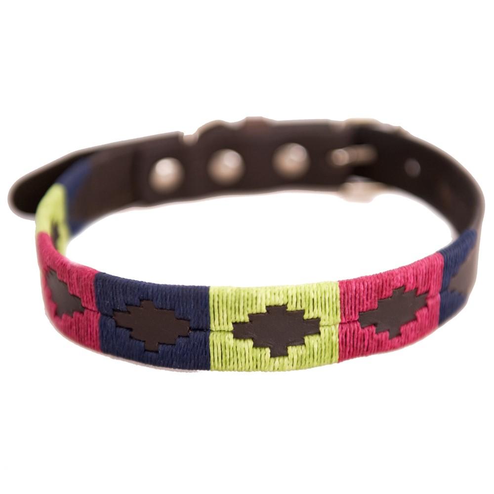 Pioneros Polo Dog Collar - Berry, Navy & Green 1