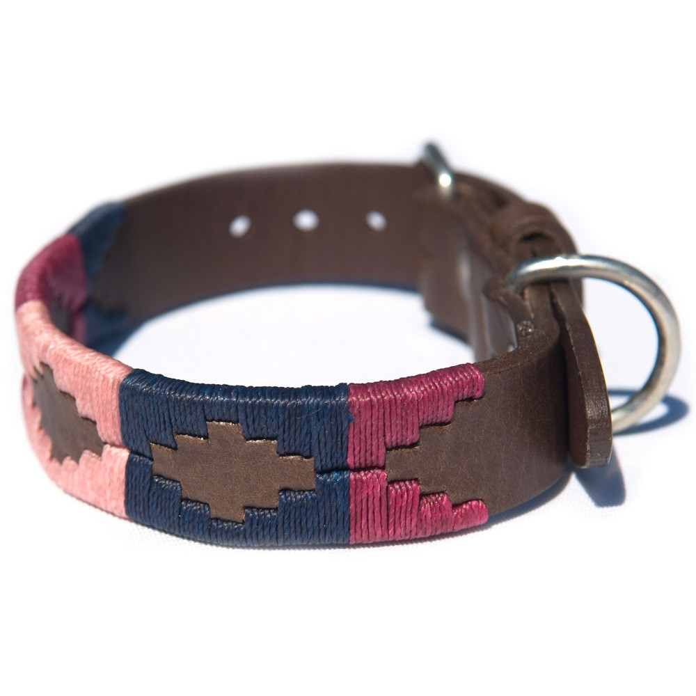 Pioneros Polo Dog Collar - Berry, Navy & Pink 1