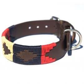 Pioneros Polo Dog Collar - Navy, Cream & Red 1