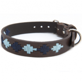Pioneros Polo Dog Collar - Pampas Cross, Navy & Blue 2
