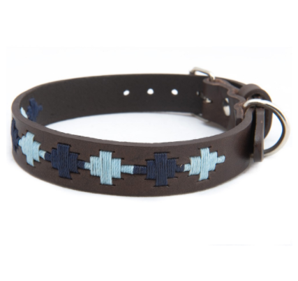 Pioneros Polo Dog Collar - Pampas Cross, Navy & Blue 2