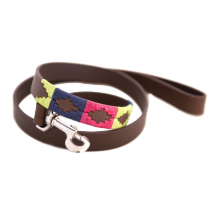 Pioneros Polo Dog Lead - Berry, Navy & Green 1