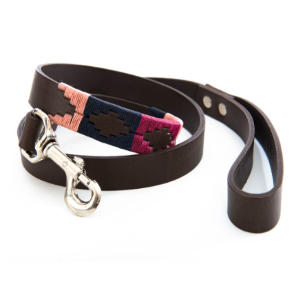 Pioneros Polo Dog Lead - Berry, Navy & Pink 1