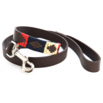 Pioneros Polo Dog Lead - Navy, Cream & Red 1