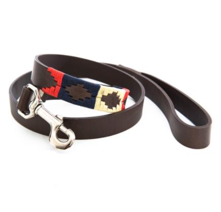Pioneros Polo Dog Lead - Navy, Cream & Red 1