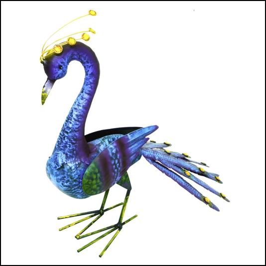 Rolson Tail Down Peacock Garden Ornament 1