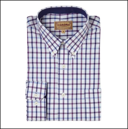 Schoffel Brancaster Purple Check Shirt