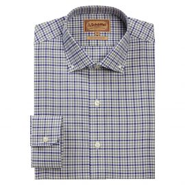 Schoffel Burnsall Navy-Olive Micro Check Shirt 1