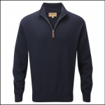 Schoffel Cashmere Cotton Crew Neck Jumper Navy 1
