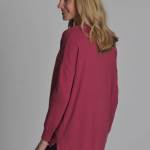 Schoffel Ladies Cotton Cashmere Crew with Pockets Raspberry 2