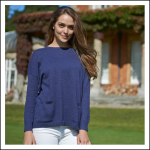 Schoffel Ladies Cotton Cashmere Crew with Pockets Indigo 2
