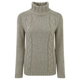 Schoffel Ladies Merino Cable Roll Neck Mink 1