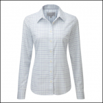 Schoffel Tattersall Ladies Blue Check Cotton Shirt 1
