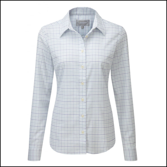 Schoffel Tattersall Ladies Blue Check Cotton Shirt 1