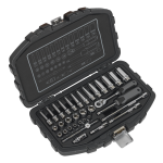 "Socket Set 33pc 1/4""Sq Drive 6pt WallDrive® Metric"