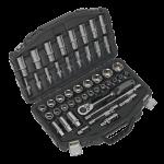Sealey Socket Set 48pc 12Sq Drive 6pt WallDrive Metric