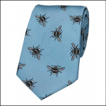 Soprano Bumble Bee Pastel Blue Luxury Silk Tie