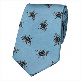 Soprano Bumble Bee Pastel Blue Luxury Silk Tie 1