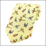 Soprano Country Birds Pastel Yellow Country Silk Tie