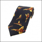 Soprano Flying Pheasants Navy Country Silk Tie