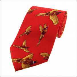 Soprano Flying Pheasants Red Country Silk Tie
