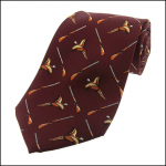 Soprano Flying Pheasants & Shotgun Wine Silk Tie
