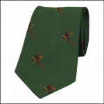 Soprano Flying Pheasants on Green Ground Country Silk Tie 1